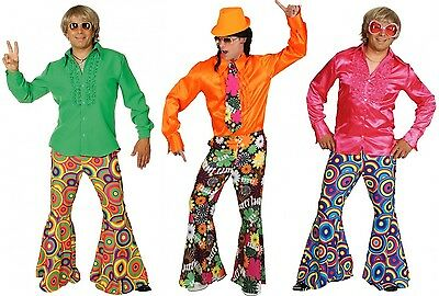 Hippie Schlaghose Herren 70er Jahre für Kostüm Flower Power Peace Mottoparty