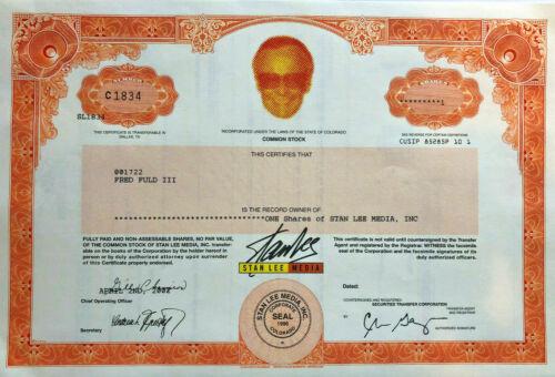 Stan Lee Media > Marvel Comics creative > stock certificate