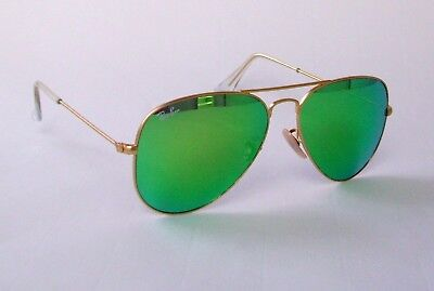 New Ray Ban Aviator RB 3025 112/19 gold/green mirrored size small 55mm sunglass