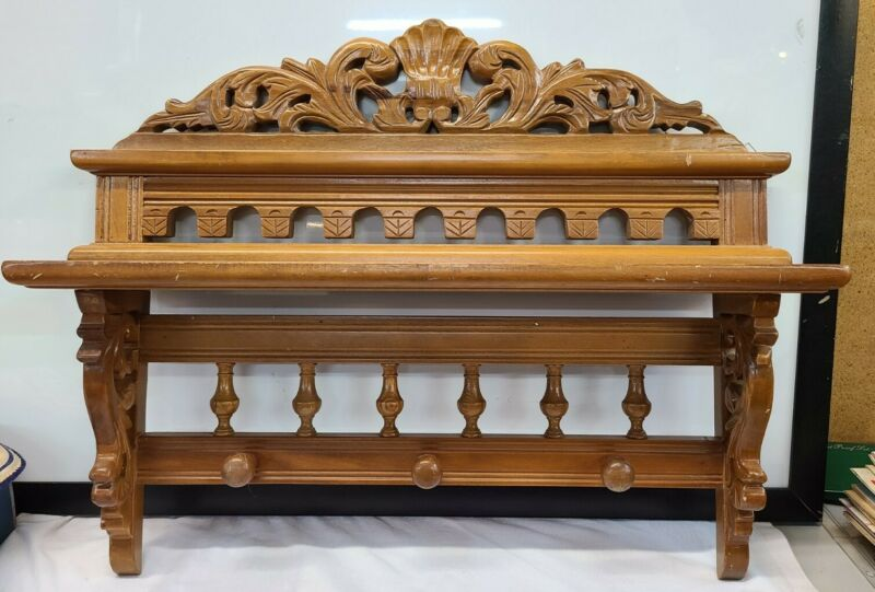 Vintage Maple Farmhouse Carved Wall Hanging Wine Glass Plate Rack Shelf