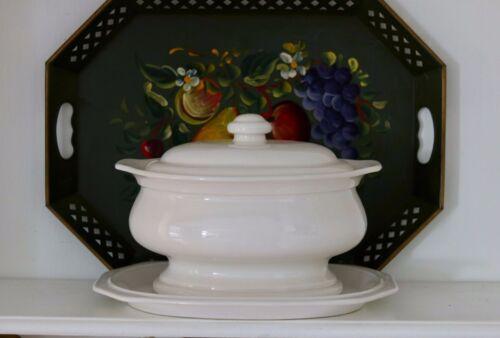 Vintage White Ironstone Soup Tureen Hearth Pattern & Platter