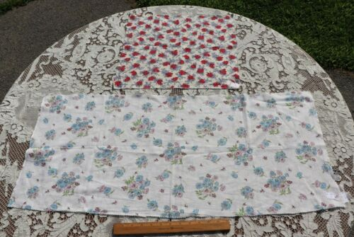 Two Beautiful Floral Genuine Vintage c1940s Feedsack Cotton Fabric