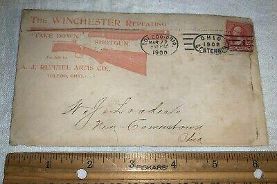 ANTIQUE 1900 WINCHESTER REPEATING SHOTGUN RIFLE RUMMEL ARMS TOLEDO ENVELOPE SIGN