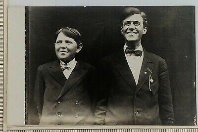 1920s Bow Ties   Gatsby Tie,  Art Deco Tie 1920s RPPC Father Son Suit Bowtie Postcard Smiling Boy Man Special Event Teen $10.88 AT vintagedancer.com
