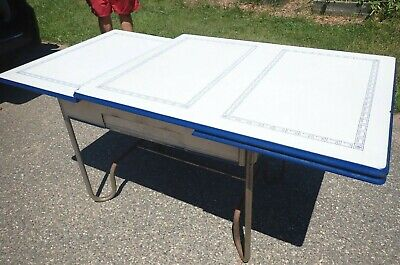 Vintage Porcelain/enamel Kitchen Table Expandable - blue and white