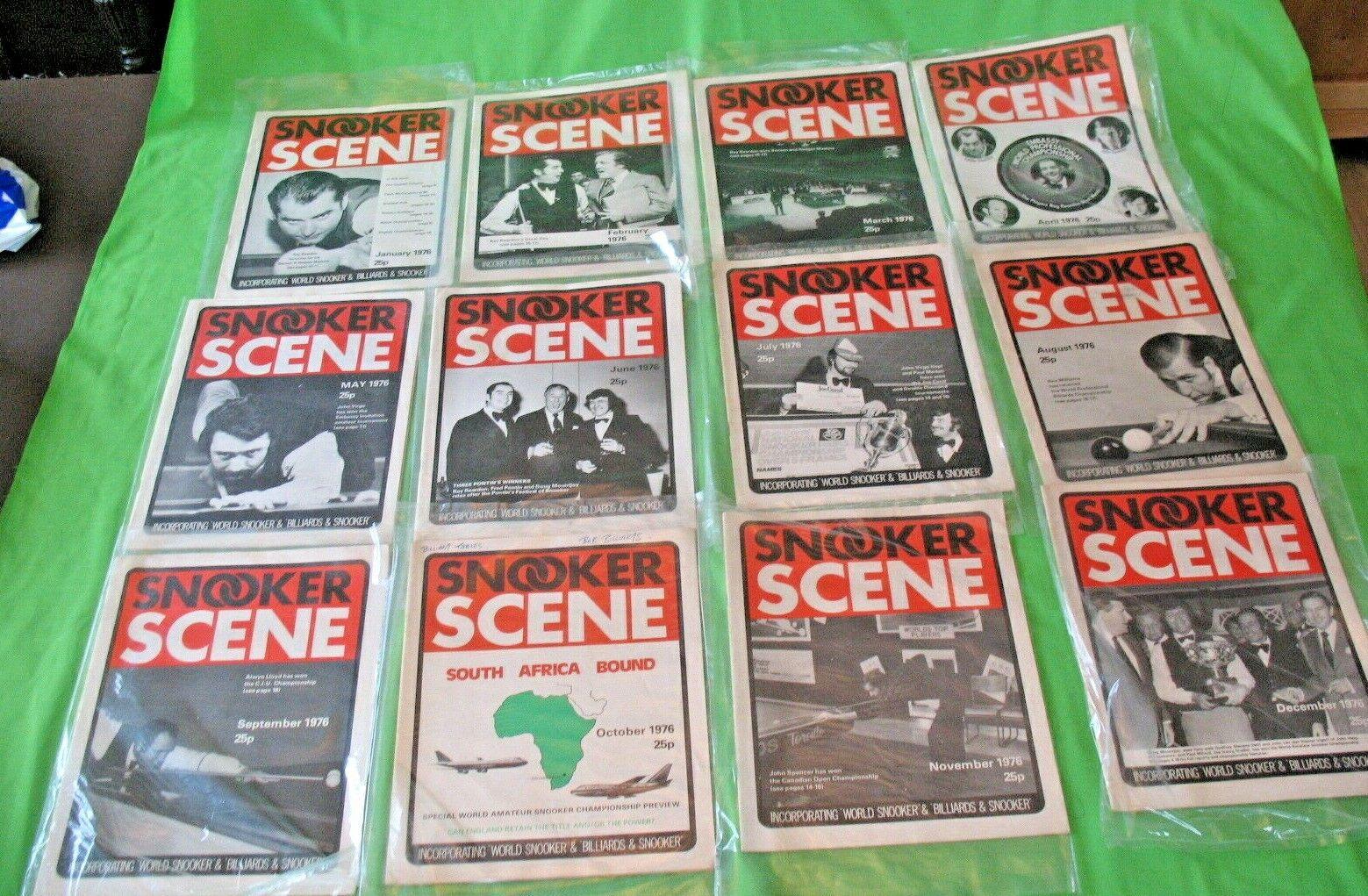 Complete set of 1976 old vintage Monthly SNOOKER SCENE  Magazines incl Billiards
