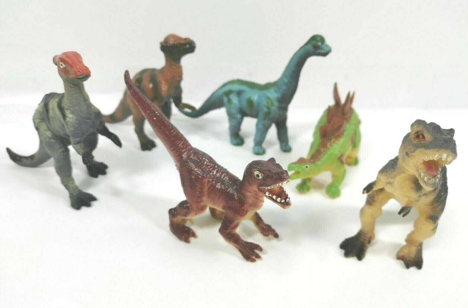 6 Dinos im Set Figuren 13cm Action Plastik Dinosaurier T Rex Flugsaurier Dino