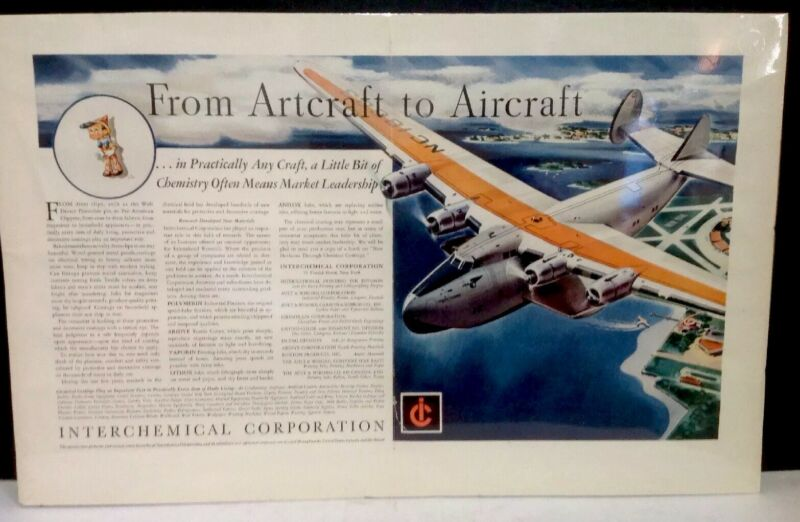 VINTAGE INTERCHEMICAL CORPORATION 2 PAGE CENTERFOLD MAGAZINE PRINT AD
