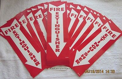 Lot Of 100-self-adhesive Vinyl 4x12 Fire Extinguisher Arrow Signs..new