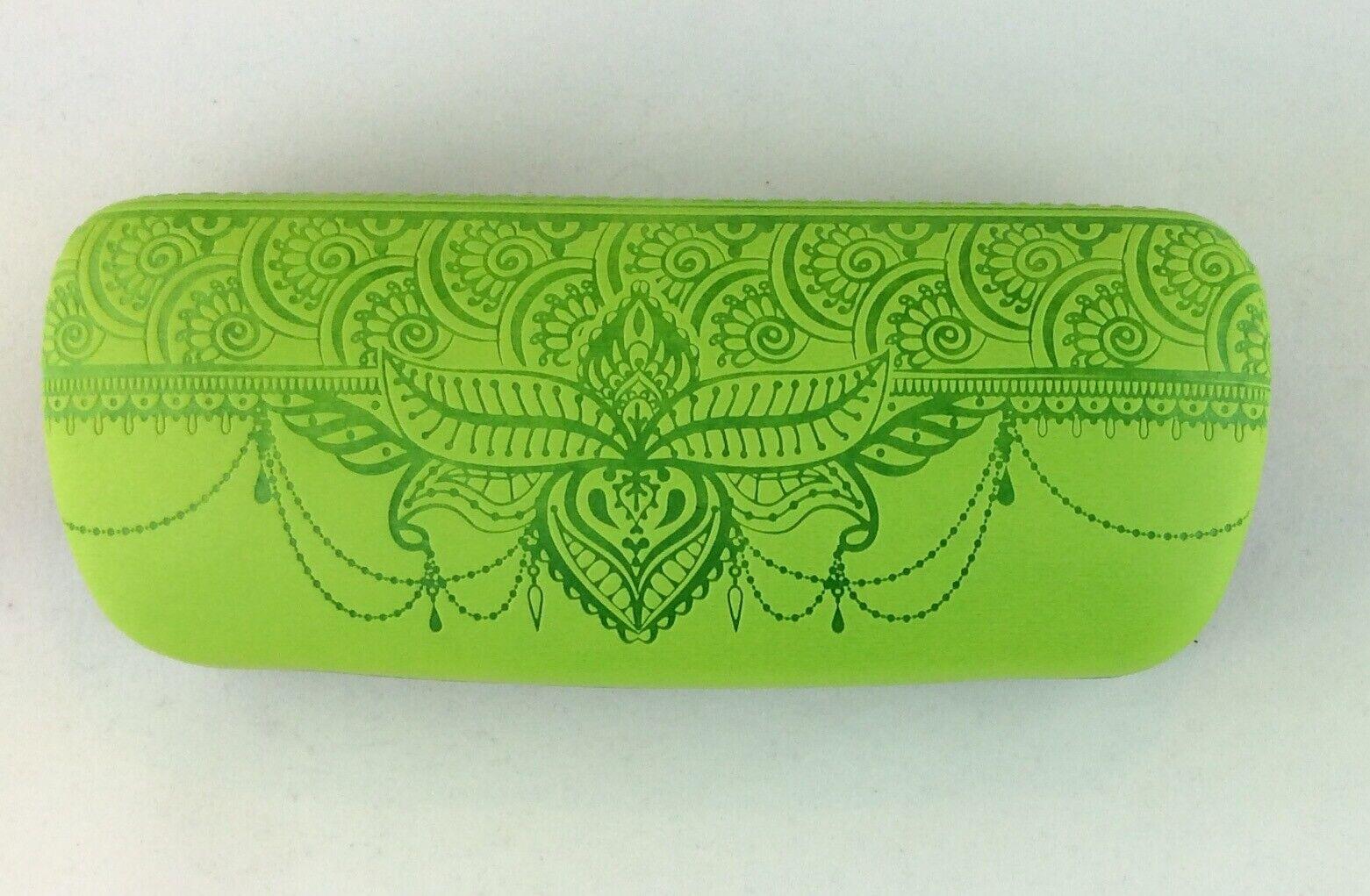 Brillenetui Hartschale Box mit Prägung wie Henna Tattoo grün