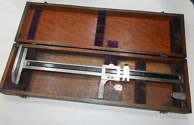 Brown Sharpe No. 185 Machinists 18 Vernier Height Gage Wooden Storage Box