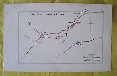 1904  RAILWAY CLEARING HOUSE Junction Diagram No.125 BARRMILL,KILSYTH,LUGTON