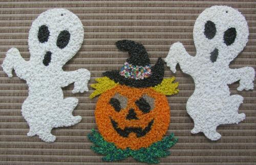 3 HALLOWEEN Vintage Melted Plastic Popcorn Wall Decorations - Pumpkin & 2 Ghosts