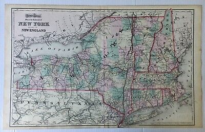 1874 Vintage Gray's Atlas Map of the Railroads of New York & Part of New England