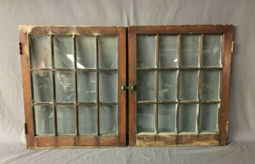 Pair Antique 12 Lite 24 X 29 Window Casement Sash Country Cupboard Vtg 25-20B