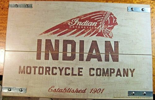 """VINTAGE STYLE OFFICIAL INDIAN MOTORCYCLE COMPANY WOOD METAL SIGN BIKE 18"""" SEE"""