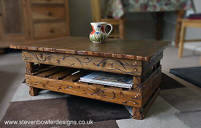 Country Cottage Style Coffee Table Medium Oak Stain with Under Shelf Storage Cottage Oak Coffee Table