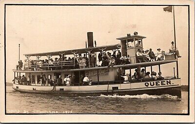 "Spirit Lake Iowa~Crowded ""Queen"" Excursion Steamer~Live Stock Fair Ad~c1910 RPPC"