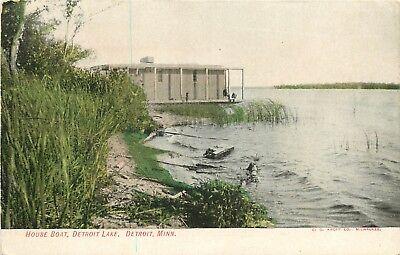 Minnesota, MN, Detroit, House Boat, Detroit Lake 1910's Postcard