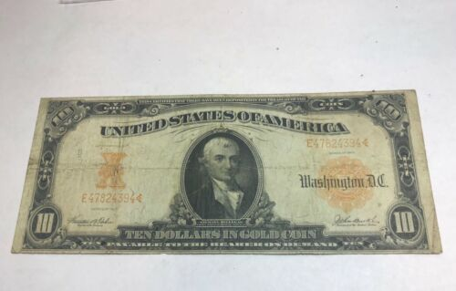 1907  $10 Gold. Certificate, fr-1172 , speelman White signatures, Fine