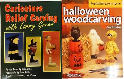 2 Paperback Lot! Halloween Woodcarving + Caricature Relief Carving - Halloween Carving Books