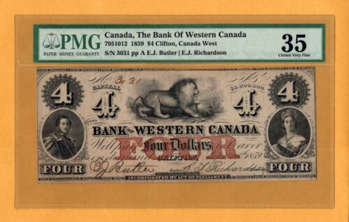Bank of Western Canada 1859 $4 Dollars Clifton PMG-35 Queen Victoria Banknote