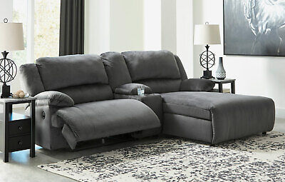 NAPLES Living Room Sectional Gray Microfiber Reclining Sofa Set w. Power (Microfiber Reclining Sofa Sectional)