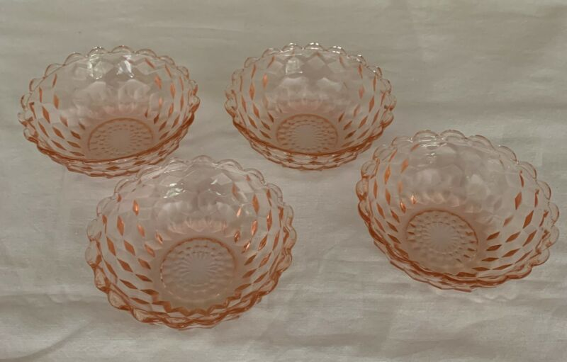 """4 Jeanette PINK Cube Cubist Glass Cereal Berry Dessert Depression Bowls 4.25"""""""