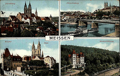 Meißen Meissen Sachsen 1916 Waldschlösschen Schlossberg gelaufen nach Bernsbach