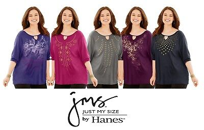 Just My Size JMS Women's Embellished Graphic Keyhole 3/4-Sleeve Tunic Shirt Top