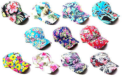 FLORAL FLOWER HAWAIIAN SUBLIMATED ALL OVER PRINT DAD HAT CURVED BILL CAP -