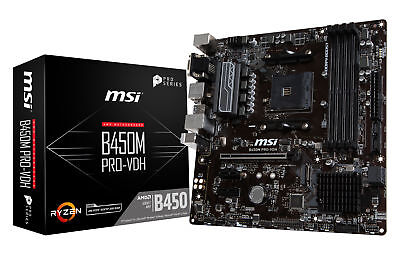 MSI B450M PRO-VDH Socket AM4 AMD B450 SATAIII 6Gb/s USB3.0 Micro-ATX Motherboard