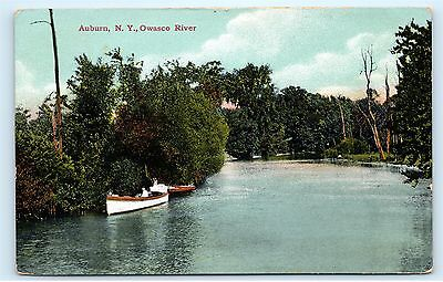 1908 Canoe Runabout Owasco River Auburn New York NY old Vintage Postcard A96