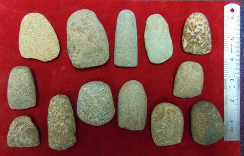 C1) 13 pcs Neolithic Celts North Africa Sahara Artifacts old lot scraper celt