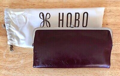 Nwt Women's Hobo Leather Double Frame Clutch Wallet, Lauren, Deep Plum