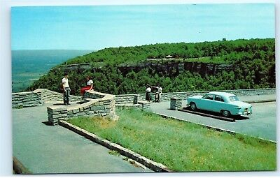 *View of Cliffs overlook Look out John Boyd Thacher Park Albany NY Postcard B70