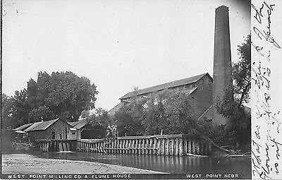 1908 Nebraska NE West Point Milling Co & Flume House Building Real Photo RP PC