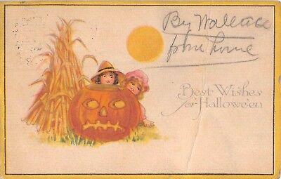 1919? Farm Children behind Jack O Lantern Greetings for Halloween postcard as is