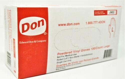 Edward Don & Company J902 LARGE Powdered Vinyl Utility Gloves QTY 200