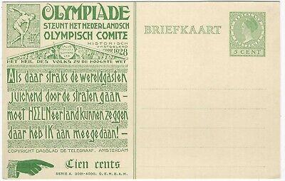 Netherlands 1928 5c Olympics illustrated stationery card unused