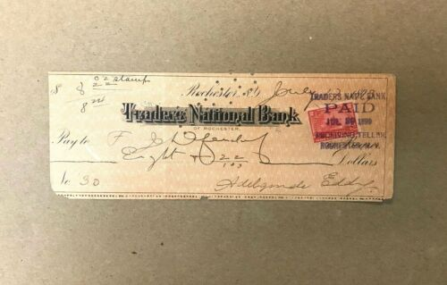 1899 Rochester, NY Traders National Bank Obsolete Check Original Stamp