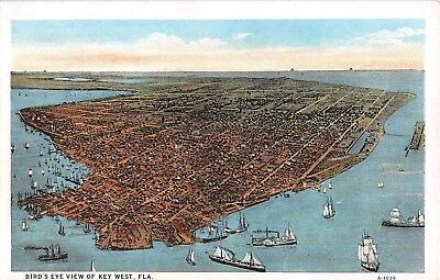 c.1920 Bird's Eye View Key West FL post card