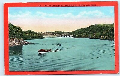 *Motor Boating Norris Dam Knoxville Tennessee Power Boats Vintage Postcard B78