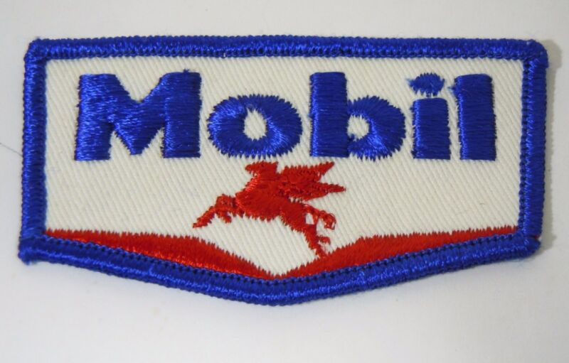MOBIL OIL & GAS Embroidered Iron-On Uniform-Jacket Patch 3""