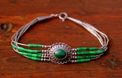 Vintage Navajo Malachite Stone 5 Strand Liquid 925 Sterling Silver Bracelet Malachite Strand Bracelet