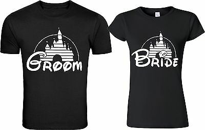 Disney castle Groom & Bride matching cute designs for newly married Couple  - Cute Shirt Designs