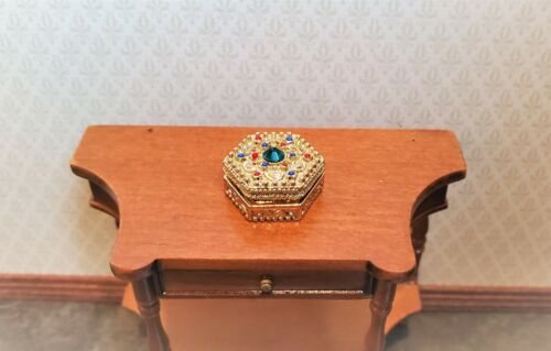 Dollhouse Miniature Jewelry Box w/ Jewels Large Gold with Opening Lid 1:12 Scale