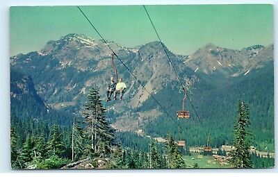 Snoqualmie Pass Washington Chair Lift Mountain Cascade Range Old Postcard A18
