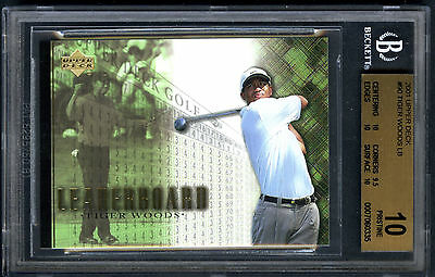 Tiger Woods 2001 Upper Deck Leaderboard #90 Rookie Card rC BGS 10 Pristine QTY