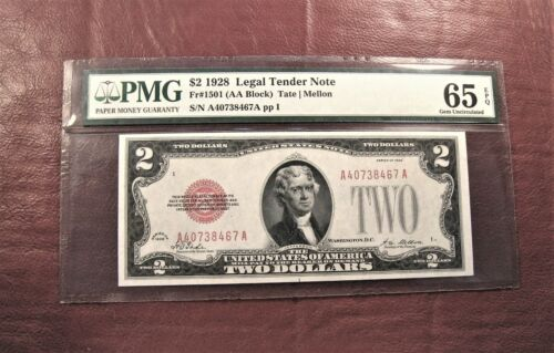1928 $2 RED SEAL NOTE GEM UNC PMG 65 EPQ 1st YEAR ISSUE - NO LETTER ** SHIP FREE